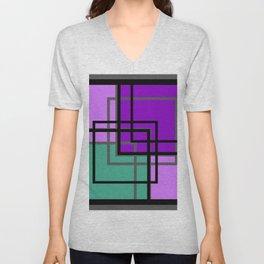 Geometric patchwork, green, turquoise Unisex V-Neck