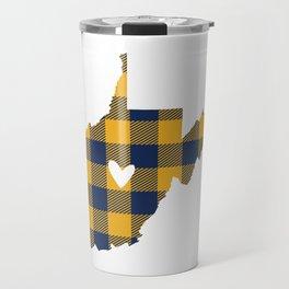 West Virginia Buffalo Plaid Outline Travel Mug