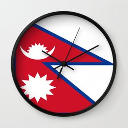 flag of nepal-nepal,buddhism,Nepali, Nepalese,india,asia,Kathmandu,Pokhara,tibet Wall Clock