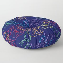 Overlapping Rainbow Frenchies Floor Pillow