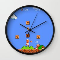 mario bros Wall Clocks featuring Super Mario Bros by Trash Apparel