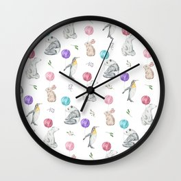 Animals with Balloons Wall Clock
