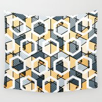hexagon Wall Tapestries featuring Hexagon Dots by SpareType