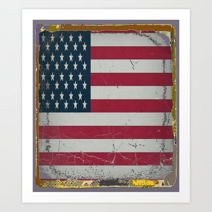 Grungy Vintage Antique American Flag Design Art Print By