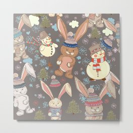 6)	Christmas cute illustration with bunny and snowmen. Winter design illustration Metal Print