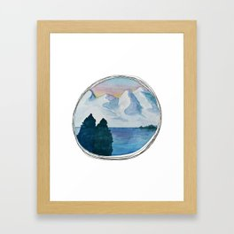 Spanish Snowy Mountains over the River Framed Art Print