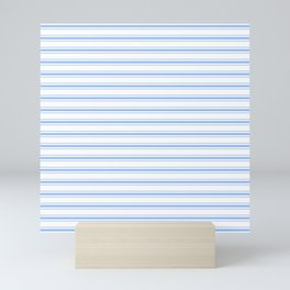 Mattress Ticking Wide Striped Pattern in Pale Blue and White Mini Art Print