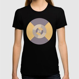 Simple geometric discs pattern yellow and taupe T-shirt
