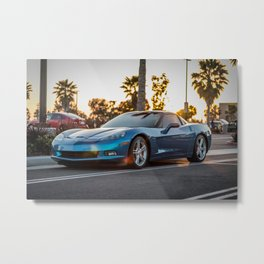 Blue Vette Metal Print