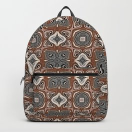 Gray Brown Taupe Beige Tan Black Hip Orient Bali Art Backpack