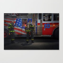 FDNY Firefighter fireman fire truck Illustration Painting art design fire house Oil Painting Acrylic Canvas Print
