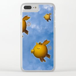 Pig can fly Clear iPhone Case