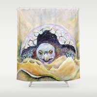 tortoise Shower Curtains featuring Baby Tortoise by CrismanArt