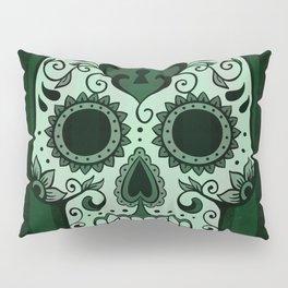Día de los Muertos in Emerald Green Pillow Sham