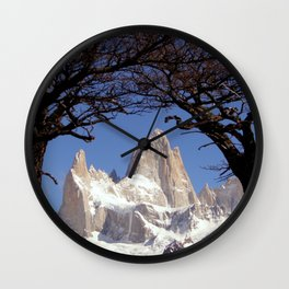 Fitz Roy Mountain Landscape (Patagonia, South America) Wall Clock