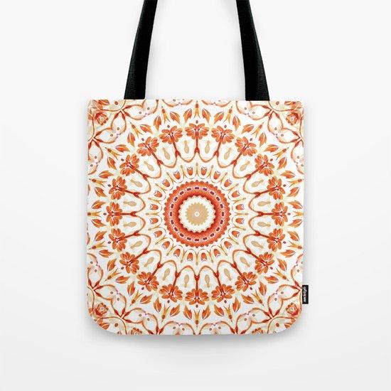 Floral Sun Mandala Tote Bag