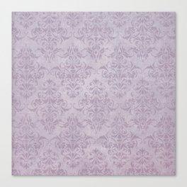 Vintage chic violet lilac floral damask pattern Canvas Print