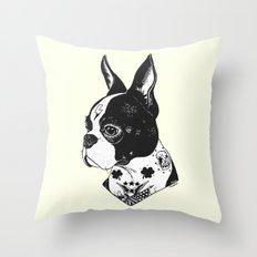 Dog - Tattooed BostonTerrier Throw Pillow