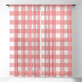 Red & White Gingham Pattern Sheer Curtain