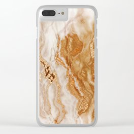 Glamorous Gold Glitter Vein Marble With Copper Sparkles Clear iPhone Case