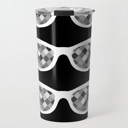 Diamond Eyes White on Black Travel Mug