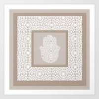 morrocan Art Prints featuring Hamsa in morrocan pattern by Heaven7