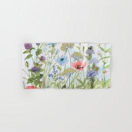 Floral Watercolor Botanical Cottage Garden Flowers Bees Nature Art Hand & Bath Towel
