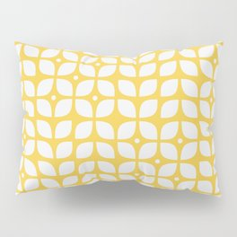 Yellow geometric floral leaves pattern in mid century modern style Pillow Sham