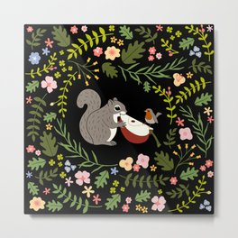 Friendship in Wildlife_Squirrel and Robin_Bg Black Metal Print