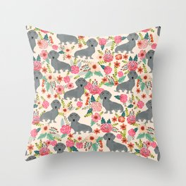 Dachshund florals grey doxie dachsie pattern with flowers cute gifts for wiener dog owners Throw Pillow