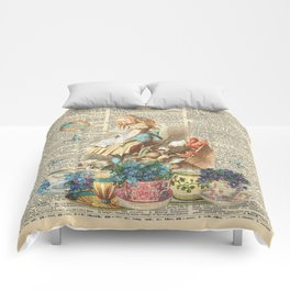 Vintage Alice In Wonderland on a Dictionary Page Comforters