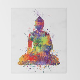 Buddha Watercolor Yoga Poster Zen decor Throw Blanket