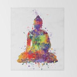 Buddha Watercolor Art Ohm Art Zen Art Meditation Gift Throw Blanket