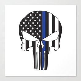 Punisher Skull American Flag Thin Blue Line Canvas Print