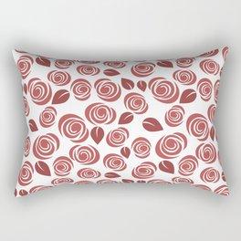 Deep Red Floral Pattern Rectangular Pillow