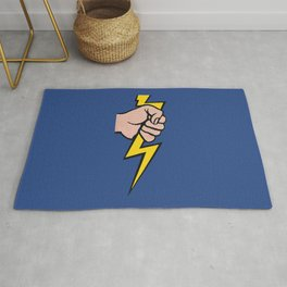 A vectorised Roy Lichtenstein, lining bolt. Rug