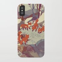 animal skull iPhone & iPod Cases featuring Fisher Fox by Teagan White
