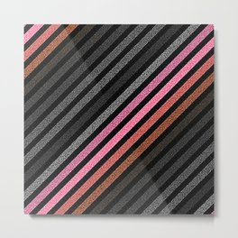 StRiPeS Slate Gray Pink Living Coral Pixels Metal Print
