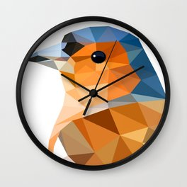 Chaffinch Bird art Geometric artwork Orange brown and blue Wall Clock