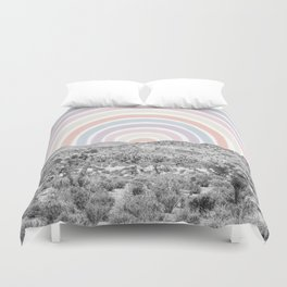 Happy Rainbow Rays // Scenic Desert Cactus Hill Landscape Watercolor Collage Dorm Room Decor Duvet Cover