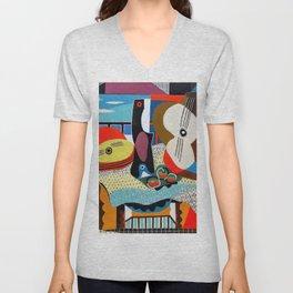 Pablo Picasso, Mandolin and Guitar (Mandoline et guitare) 1924 Artwork Unisex V-Neck