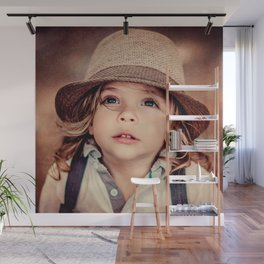 Child Looking up Girl Hat Vintage Portrait Wall Mural