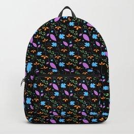 Floral Pattern Black Background Backpack
