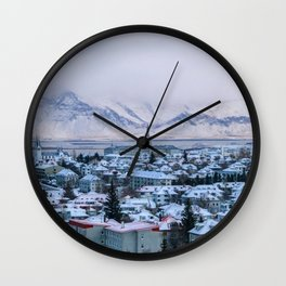 Icy Mountains in Reykjavik Wall Clock