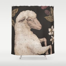 The Sheep and Blackberries Shower Curtain