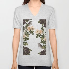 Blackberry Spring Garden - Birds and Bees Cream Flowers Unisex V-Neck