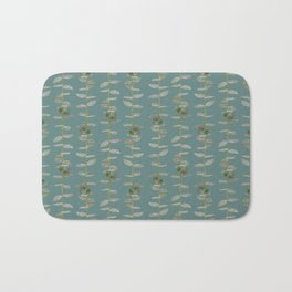 Eucalyptus Patterns with Aqua Background Realistic Botanic Patterns Organic & Striped Patterns Bath Mat