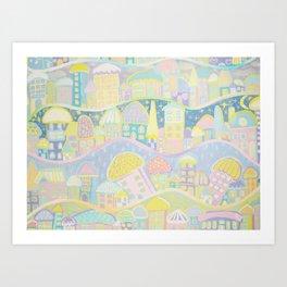 Pastel Village Art Print