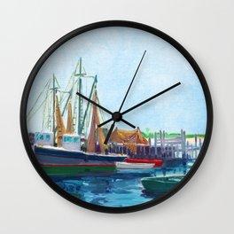 Galilee Fishing Village, Jerusalem, Point Judith, Narragansett, Rhode Island landscape painting Wall Clock