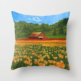 Tulip Farm Throw Pillow